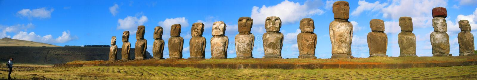 Sentinels. Ancient Moai on Easter Island