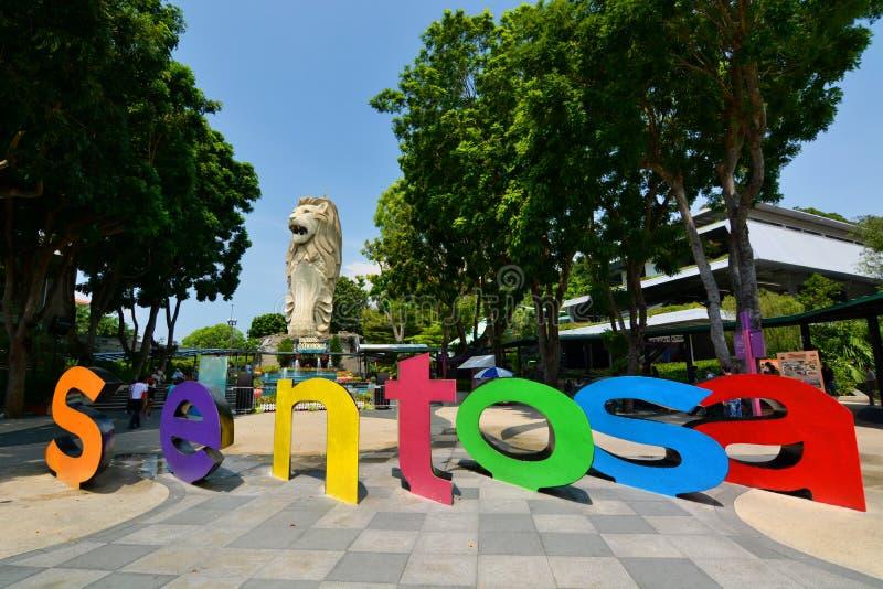 Sentosa Merlion Sentosa ö Singapore royaltyfria bilder