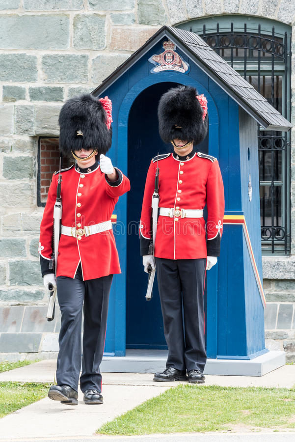 Sentries at The Citadel in Quebec City. Quebec, Canada stock photography