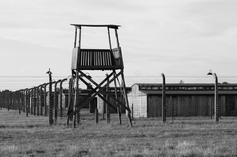 Sentry box at Auschwitz Birkenau royalty free stock images