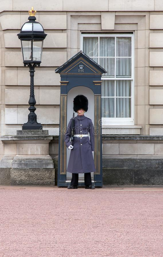 Sentry at Buckingham Palace. Coldstream Guard sentry at Buckingham Palace home of the queen in London royalty free stock photography