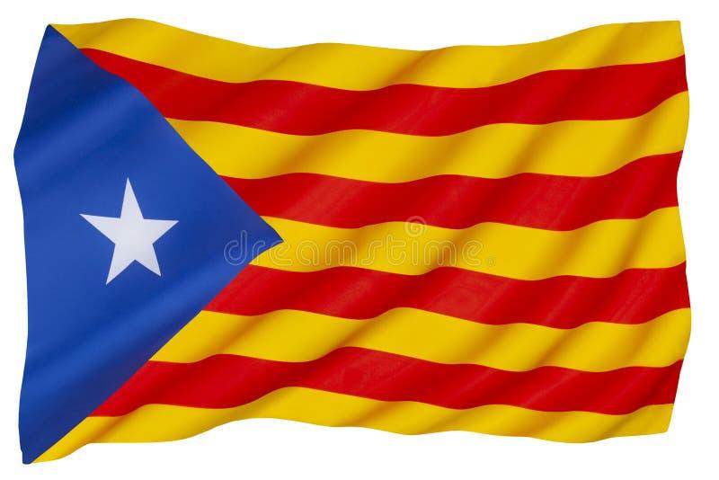 The Senyera Estelada - the unofficial flag of Catalan independence stock photo