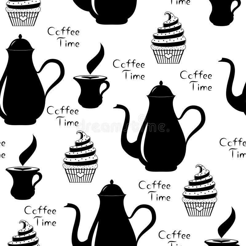 Senza cuciture di tempo del caffè con la caffettiera, la tazza di caffè e il cupca royalty illustrazione gratis