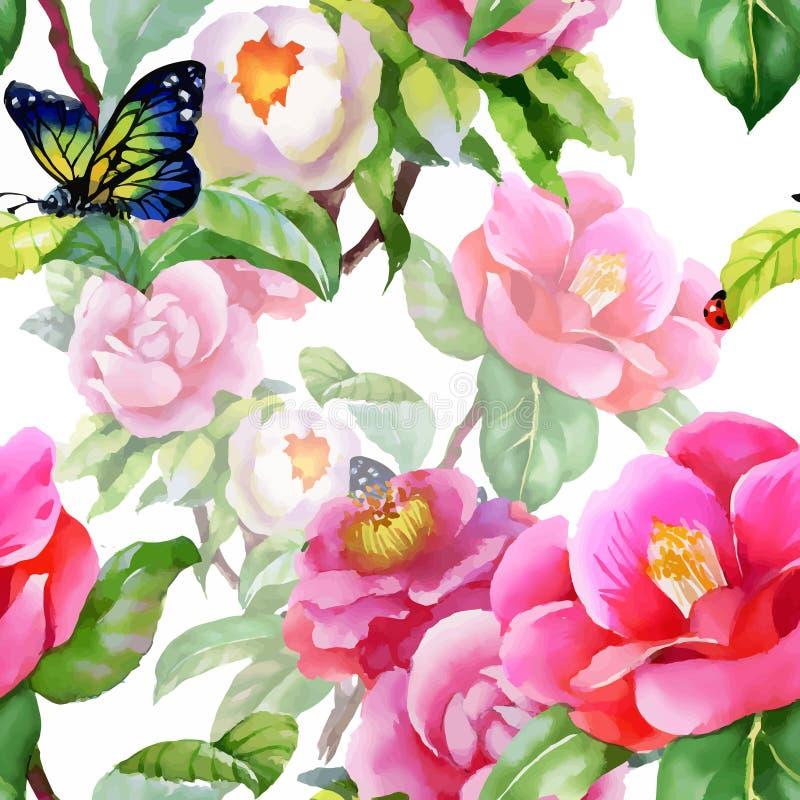 Senza cuciture floreale d'annata su fondo bianco con le rose, la farfalla ed i fiori selvaggi, illustrazione dell'acquerello di v royalty illustrazione gratis