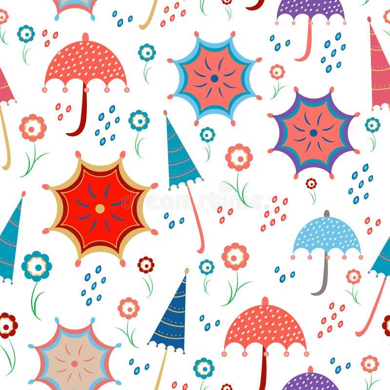 Senza cuciture luminoso con gli ombrelli, i fiori e la pioggia di molla, docce con i colori di corallo viventi April Showers royalty illustrazione gratis