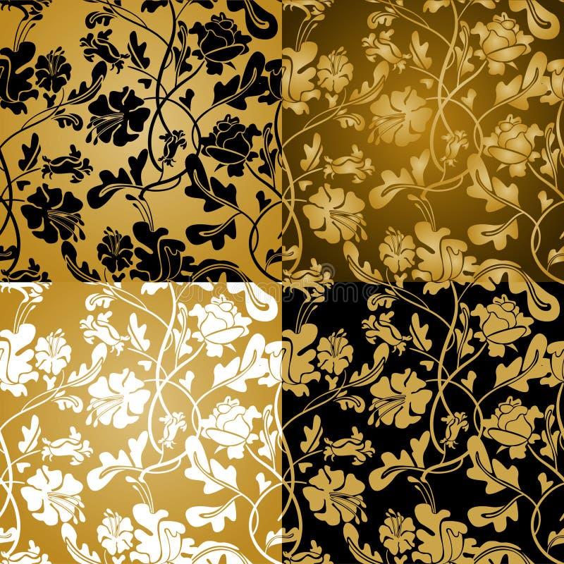 Senza giunte floreale dell'oro illustrazione di stock
