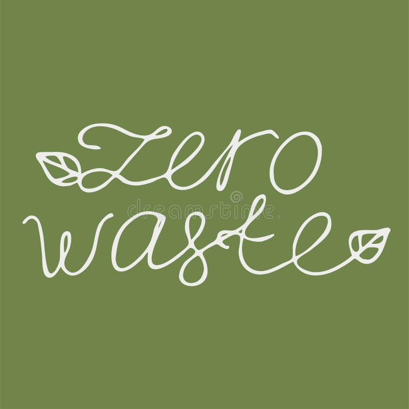Senza spreco zero dell'iscrizione, bianco su un'immagine verde di vettore di logo del fondo royalty illustrazione gratis