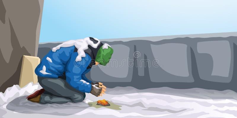 Senzatetto all'inverno illustrazione di stock