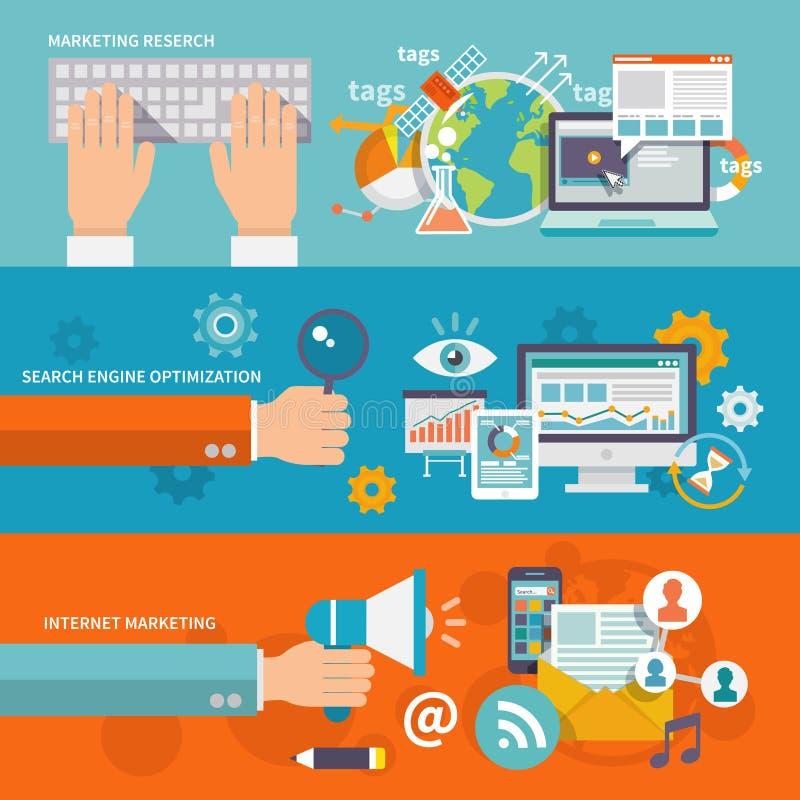 Seo互联网营销横幅 向量例证