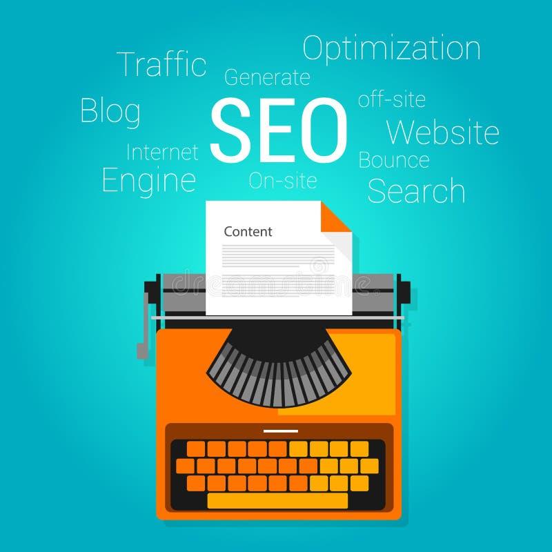 Seo内容销售方针概念搜索引擎优化 库存例证