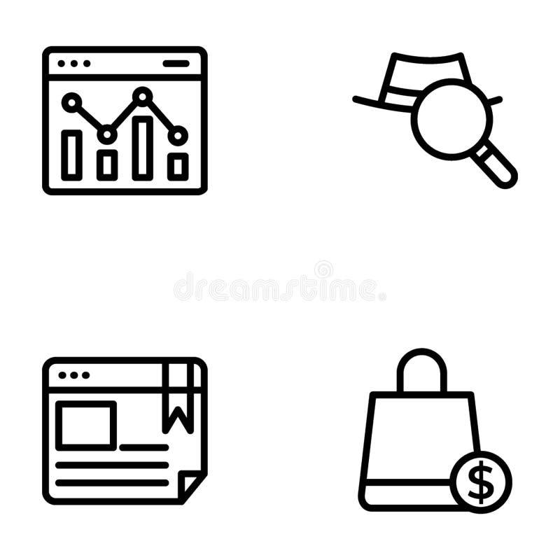 Seo名单和网线传染媒介包装 库存例证