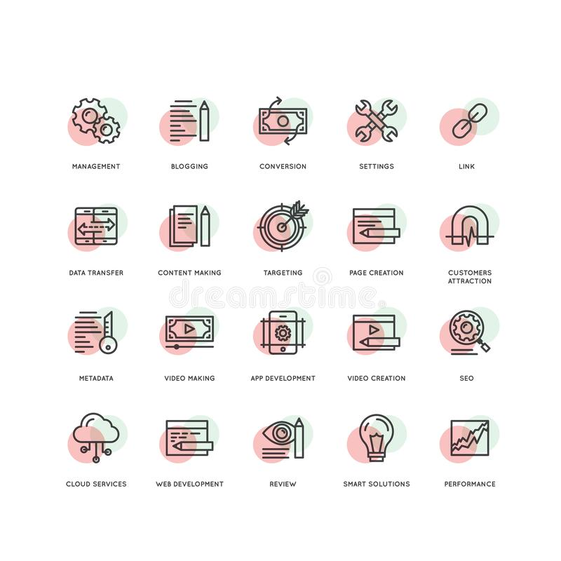 SEO和发展过程,编码的网和流动管理,编程和 向量例证