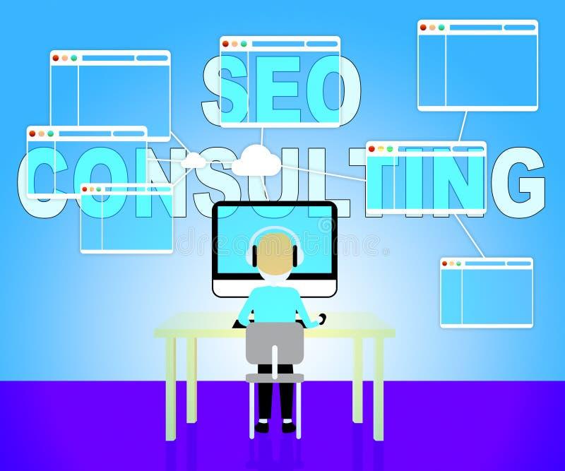 Seo咨询代表查寻引擎和咨询 库存例证