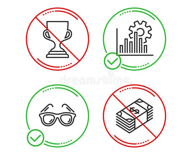 Seo图表、奖杯子和太阳镜象集合 USD货币符 逻辑分析方法图,战利品,旅行玻璃 向量 向量例证
