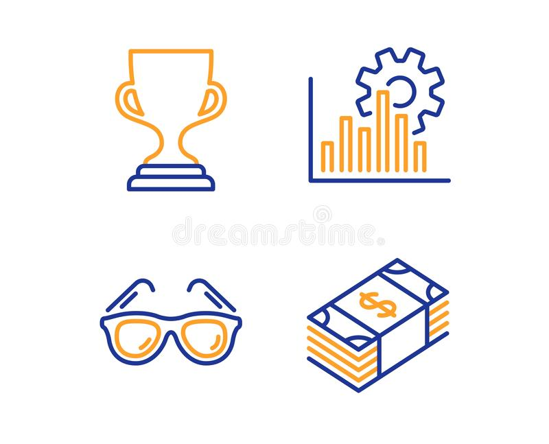 Seo图表、奖杯子和太阳镜象集合 Usd货币符 逻辑分析方法图,战利品,旅行玻璃 ?? 皇族释放例证