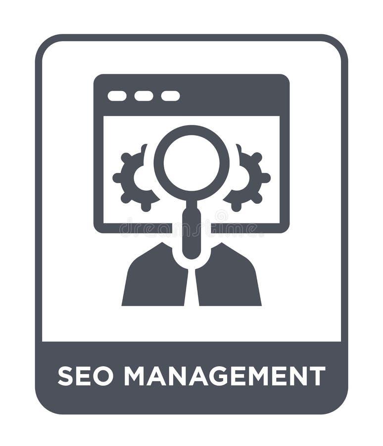 seo在时髦设计样式的管理象 seo在白色背景隔绝的管理象 seo管理简单传染媒介的象 向量例证