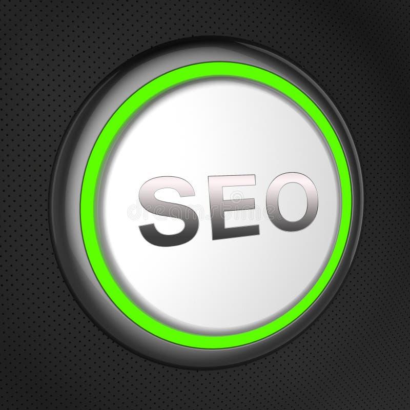 Seo按钮手段搜索引擎优化3d例证 皇族释放例证