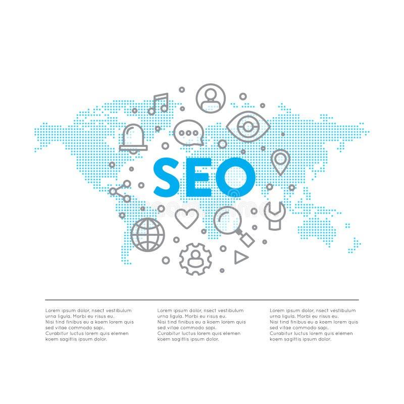 SEO搜索引擎与全世界全球性地图元素的优化过程的商标概念 向量例证
