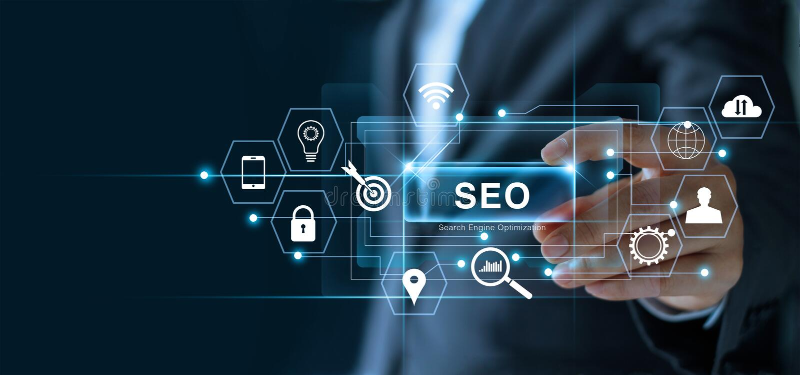 SEO搜索引擎优化营销概念 商人藏品词SEO在手中 向量例证