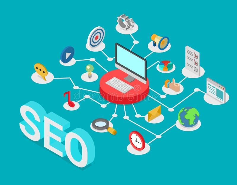 SEO搜索引擎优化平的3d等量传染媒介 库存例证