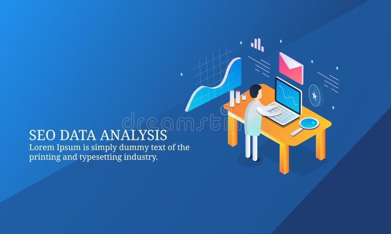 Seo数据分析,监测关于膝上型计算机的商人营销数据 库存例证