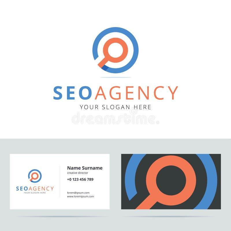 SEO机构商标和名片模板 库存例证