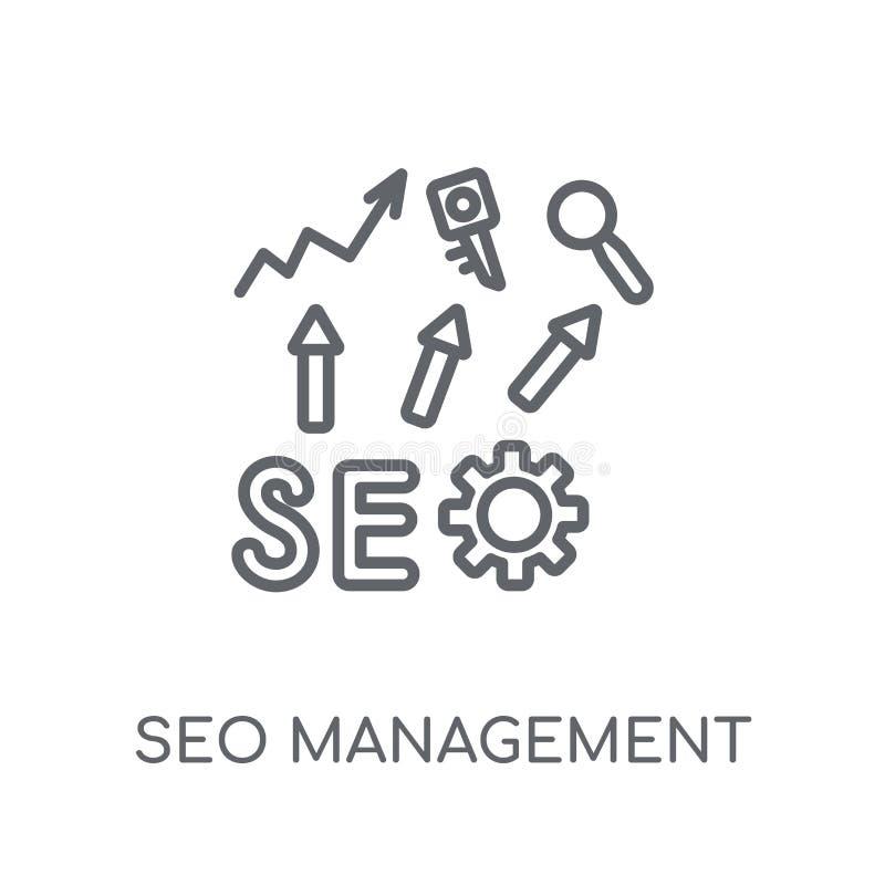 Seo管理线性象 现代概述Seo管理商标c 库存例证