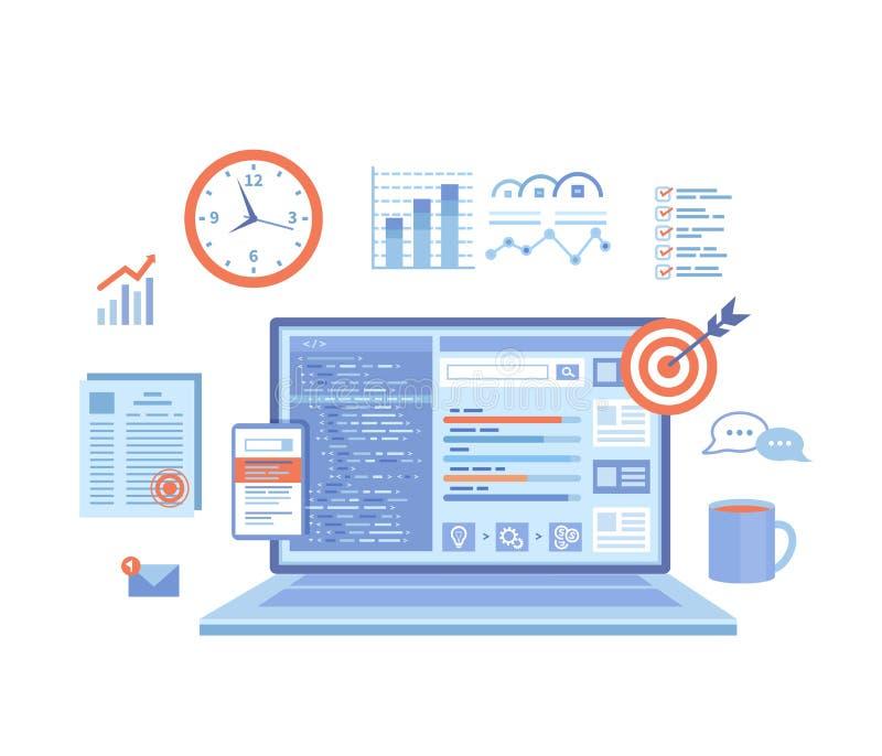 SEO经理,密钥管理,美满的营销 协调和实施搜索引擎产品销售组织计划 有网的膝上型计算机 向量例证
