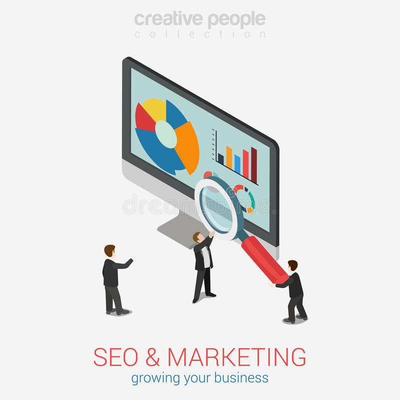 SEO营销网站逻辑分析方法报告等量平的3d的网 皇族释放例证