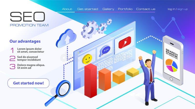 SEO逻辑分析方法队着陆页 商人享受胜利 搜索引擎优化在紫外的分析概念 库存例证