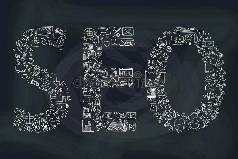 Seo λέξης στα εικονίδια Doodle Περιγραμματικός πίνακας κιμωλίας απεικόνιση αποθεμάτων
