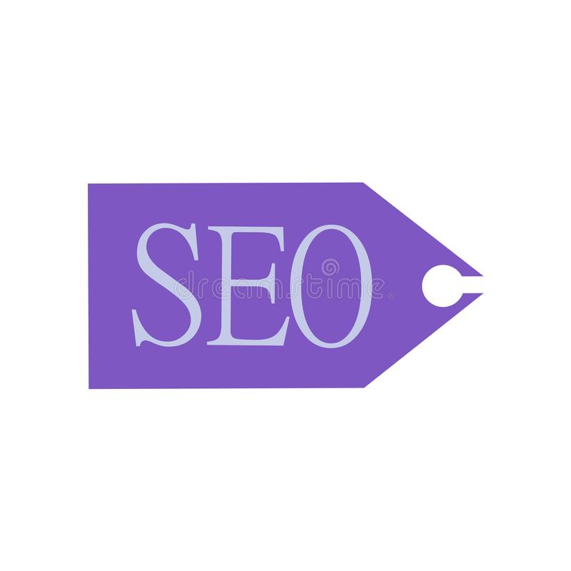 Seo ετικεττών σημάδι και σύμβολο εικονιδίων διανυσματικό που απομονώνονται στο άσπρο υπόβαθρο, έννοια λογότυπων ετικεττών Seo ελεύθερη απεικόνιση δικαιώματος
