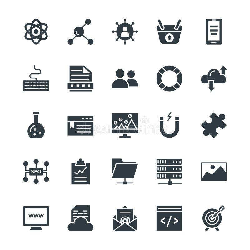 SEO και Διαδίκτυο που εμπορεύονται τα δροσερά διανυσματικά εικονίδια 3 ελεύθερη απεικόνιση δικαιώματος