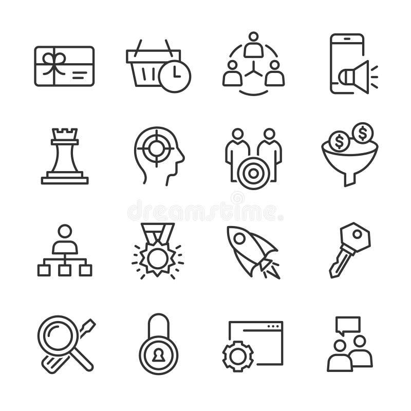 Seo και μάρκετινγκ - εικονίδια γραμμών καθορισμένα ελεύθερη απεικόνιση δικαιώματος