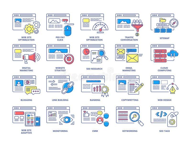 SEO και ψηφιακά εικονίδια γραμμών χρώματος μάρκετινγκ καθορισμένα διανυσματική απεικόνιση