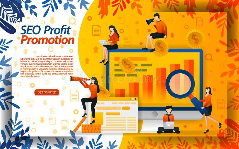 SEO для того чтобы увеличить онлайн продвижение ищите выгоду путем модернизировать продвижения онлайн рост продаж, ilustration ве иллюстрация штока
