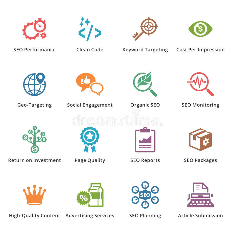 SEO & значки маркетинга интернета - комплект 4 | Покрашенная серия бесплатная иллюстрация