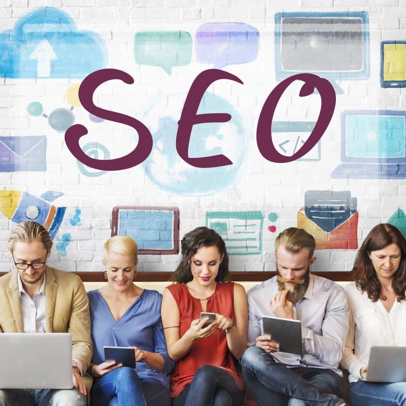SEO ища концепцию сети маркетинга цифров стоковые фотографии rf