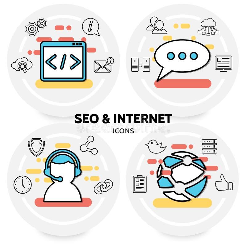 SEO и концепция интернета иллюстрация штока