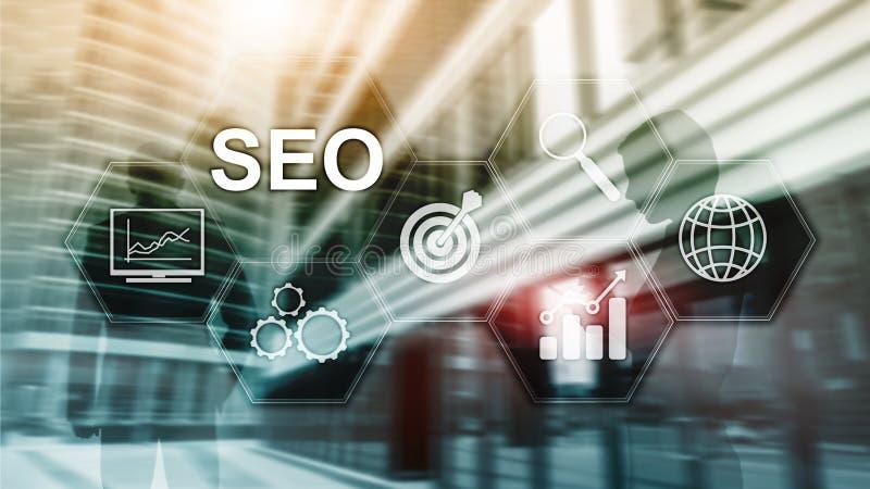 SEO - Оптимизирование поисковой системы, маркетинг цифров и концепция технологии интернета на запачканной предпосылке иллюстрация штока