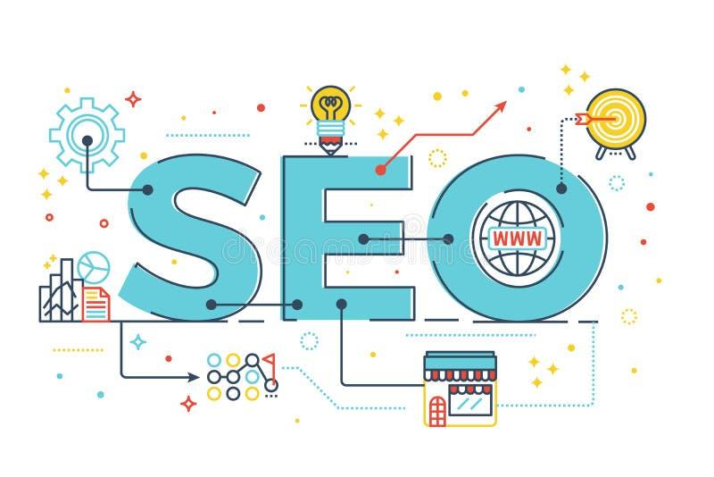 SEO: Оптимизирование поисковой системы иллюстрация вектора