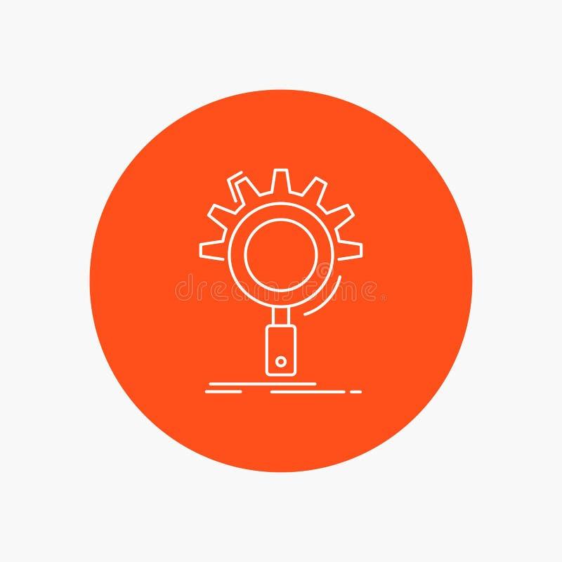 seo, поиск, оптимизирование, процесс, линия значок установки белая в предпосылке круга r иллюстрация штока