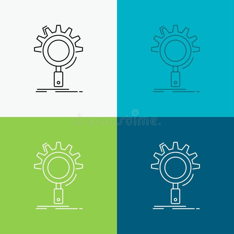 seo, поиск, оптимизирование, процесс, устанавливая значок над различной предпосылкой r 10 eps иллюстрация вектора