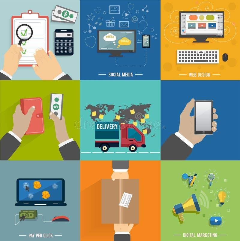 Seo, социальные средства массовой информации Процесс покупок интернета бесплатная иллюстрация