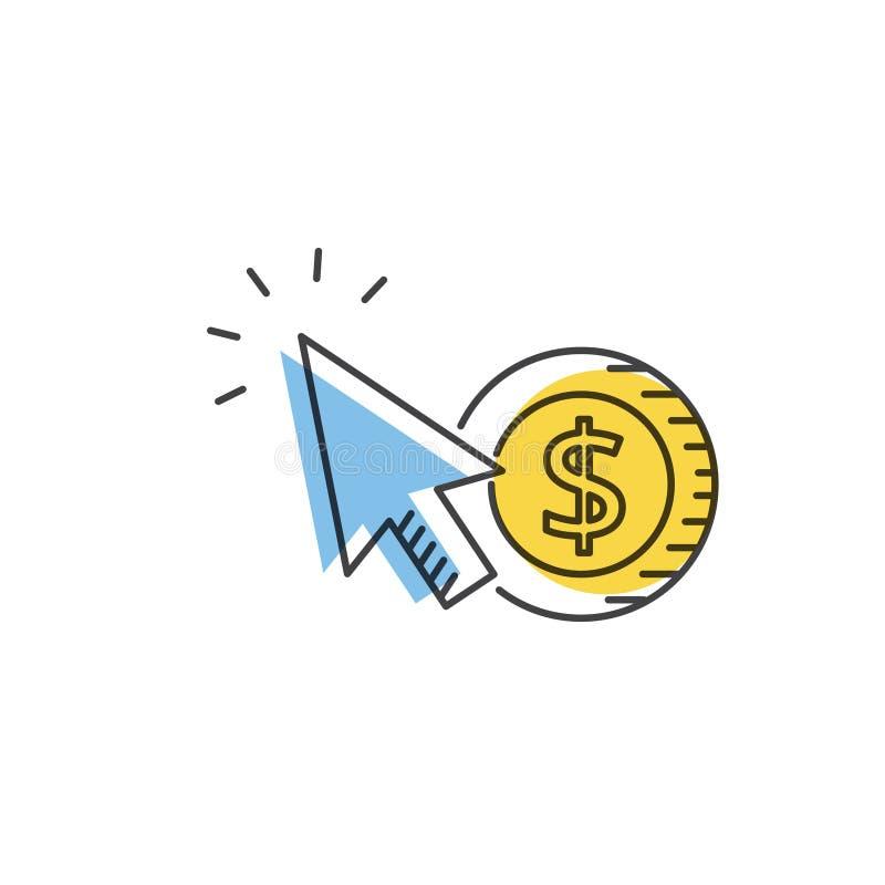 SEO.互联网营销概念 薪水每条点击传染媒介线象 库存例证