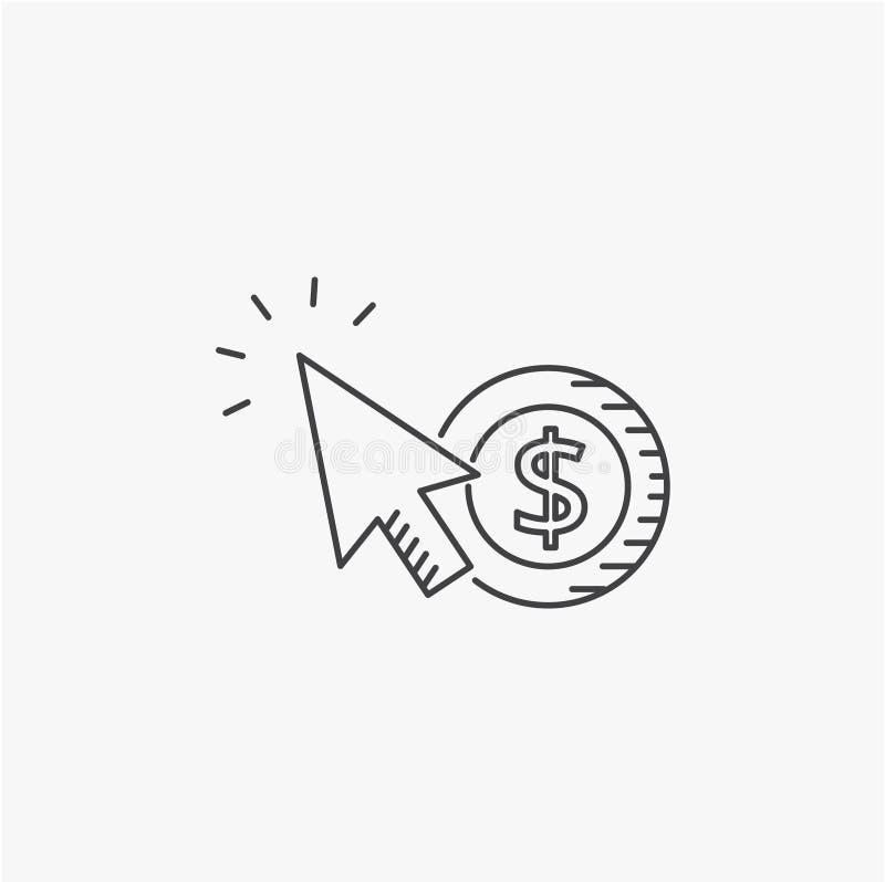 SEO.互联网营销概念 薪水每条点击线象 向量例证