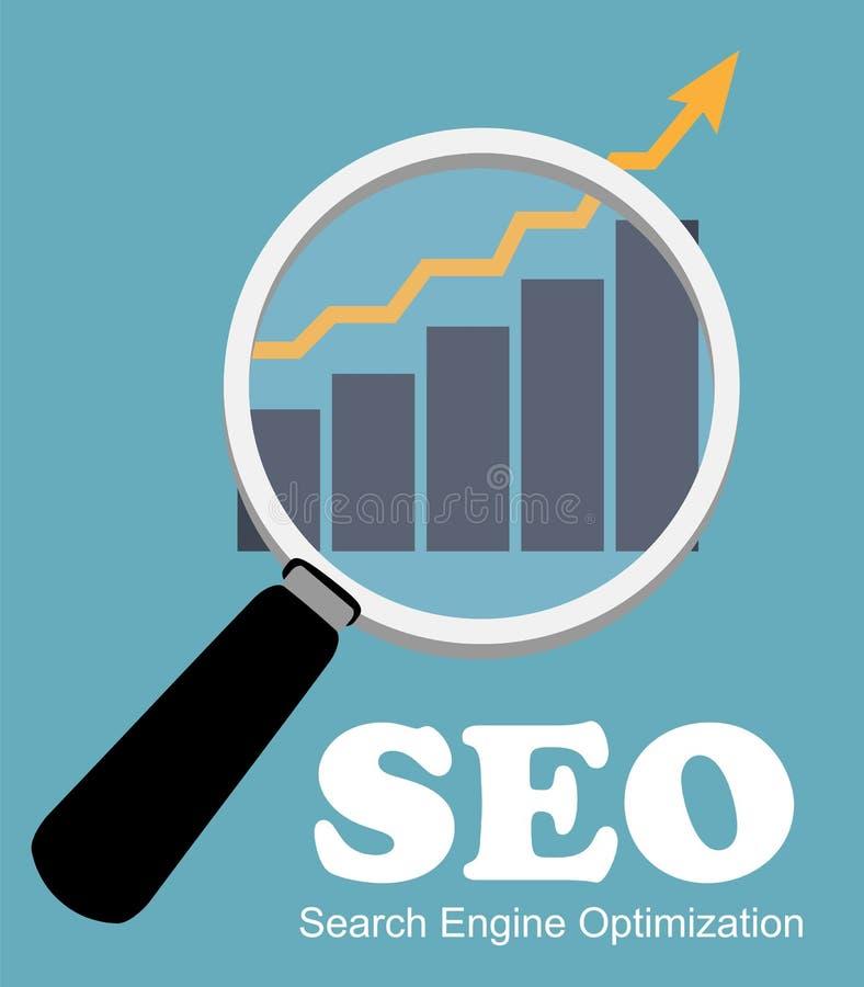 SEO -搜索引擎优化平的象传染媒介 向量例证