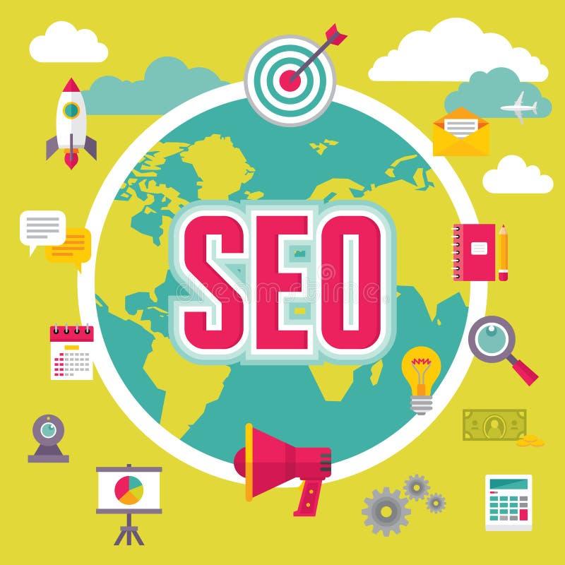 SEO (搜索引擎优化)在平的设计样式 向量例证