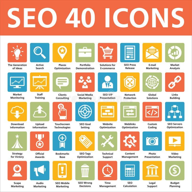 SEO 40 διανυσματικά εικονίδια ελεύθερη απεικόνιση δικαιώματος
