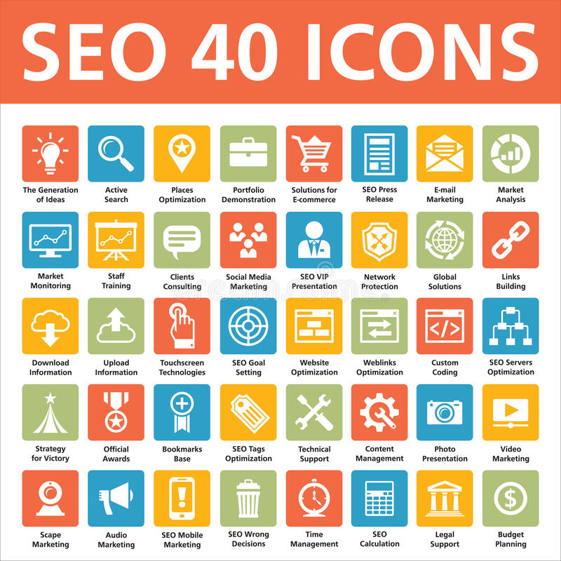 SEO 40 Vector Icons. 40 SEO (Search Engine Optimization) vector icons for your convenience. Perfect for web design, presentations, and various promotional